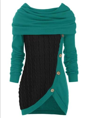 Casual Button Deco Knitted Irregular Hem Hooded Sweater