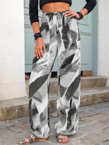 Casual Printed Straight Wide Leg Pants