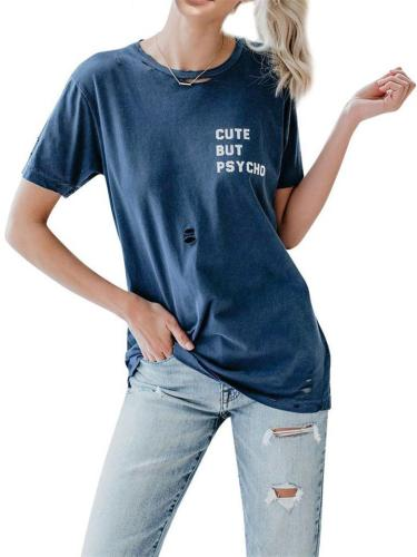 Simple Style Letter Print Ripped Short-Sleeved Round Neck T-Shirt