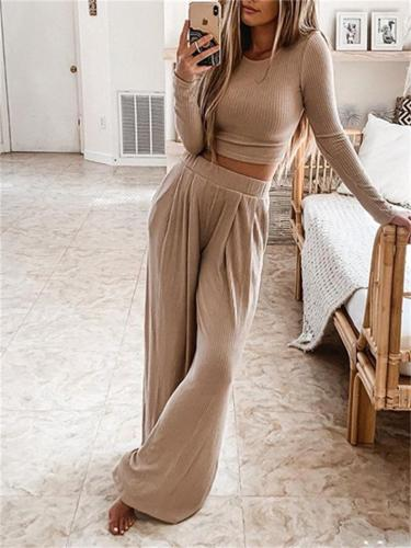 Elegant Two-Piece Set Solid Color Round Neck Long Sleeve Pullover Top +  Wide Leg Pants