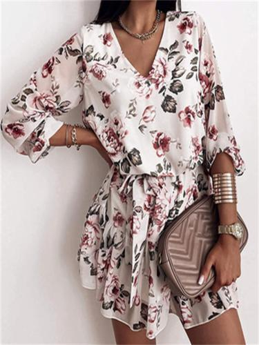 Fashion High Waist V-Neck Design Printed Dress