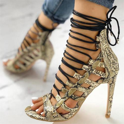 Women's Heeled Sandals Snake Print Pointed Toe Cut-Outs Crossed-Tied Lace Up Stiletto Party Shoes