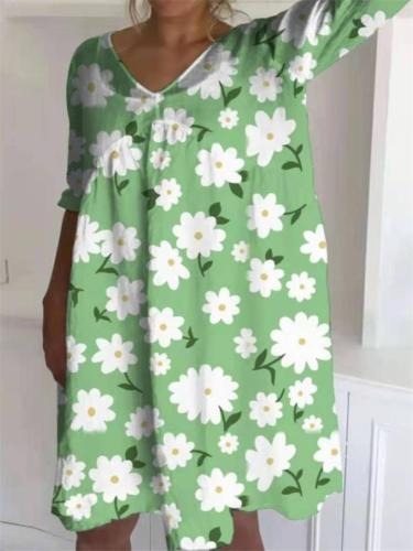 Summer Retro Style Simple Loose Floral Print Dress