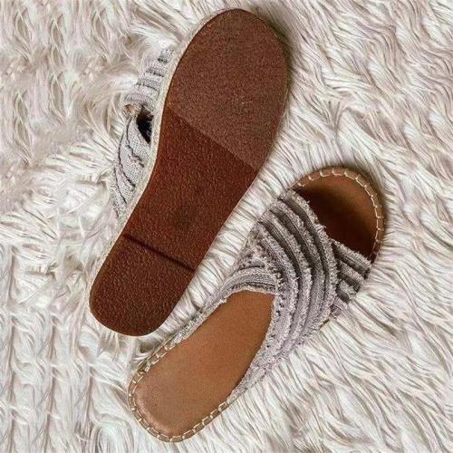 Women's Fashion Breathable Tassel Design Flat Open Toe Slippers