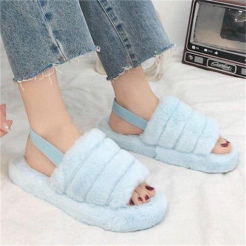 Women's Summer Open Toe Wool Fur Strappy Slippers