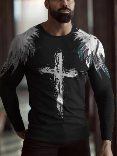 Mens Casual Print Round Neck Long Sleeve Hipster T-Shirts