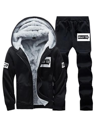Mens Warm Lining Casual Baseball Sports Coats+Pants