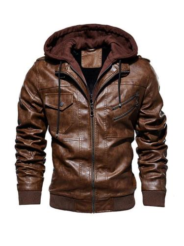 Mens Fashion Warm Windproof Motocycle Drawstring Hooded Jackets