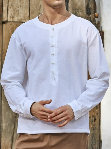 Mens Comfy Button Linen Solid Color Long Sleeve T-Shirts