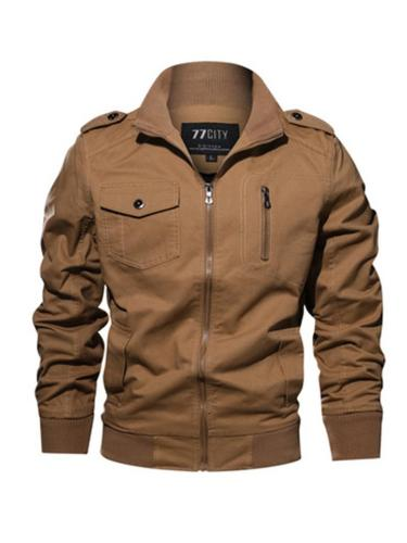 Mens Casual Military Solid Color Cargo Jackets With Pockets
