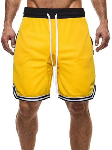 Mens Breathable Comfy Patchwork Basketball Knee Shorts