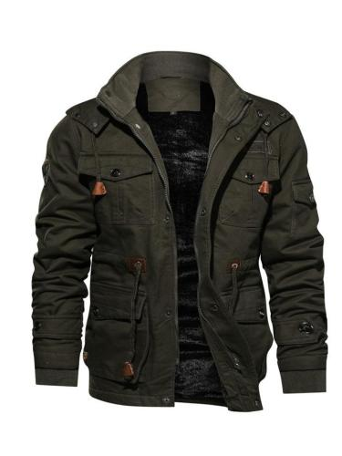 Mens Warm Military Casual Lapel Collar Jeckets