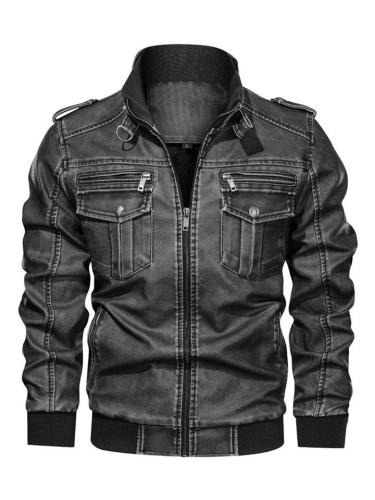Mens Washed Vintage Motorcycle Military Loose Jackests With Pockets