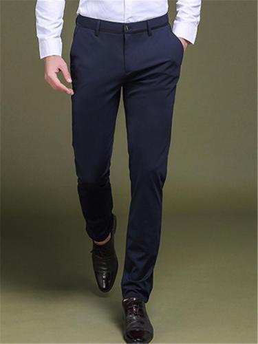 Mens Business Elastane Vertical Comfy Solid Color Pants