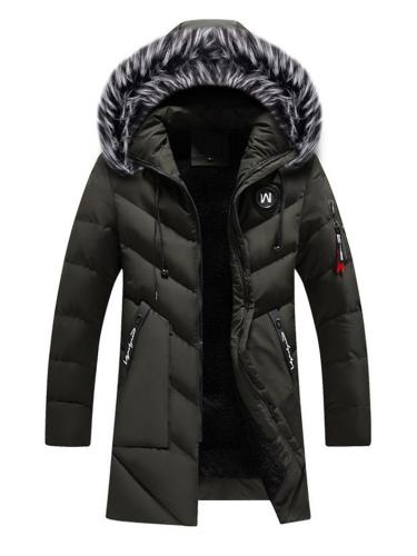 Mens Warm Lining Fashion Striped Further Hooded Coats