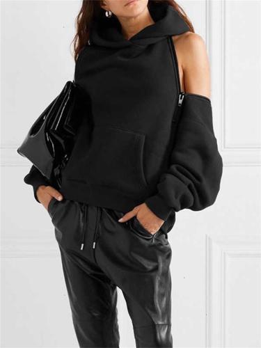 Women's Sexy Pullover Off-Shoulder Fleece Hooded Sweater