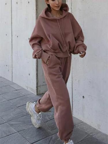 Casual Sports Long-Sleeved Solid Color Pullover Hooded Top + Elastic Waist Pants