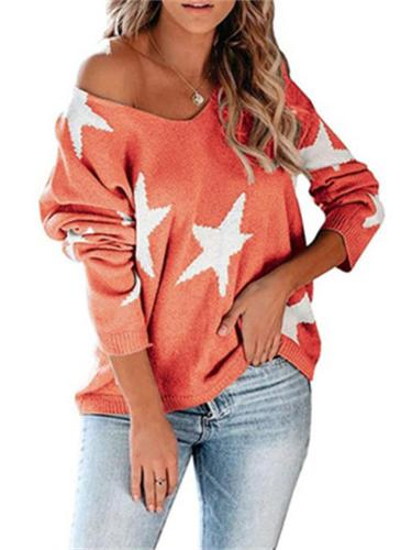 Women's Comfy Knitted Five-Pointed Star Print V-Neck Pullover Sweater