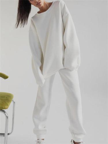 Women's Simple Style Casual Sports Ultra Soft Long-Sleeved Fleece Top + Pants