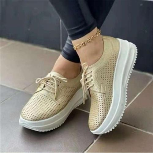 Summer Casual Lace-Up Design Breathable Solid Color Loafers