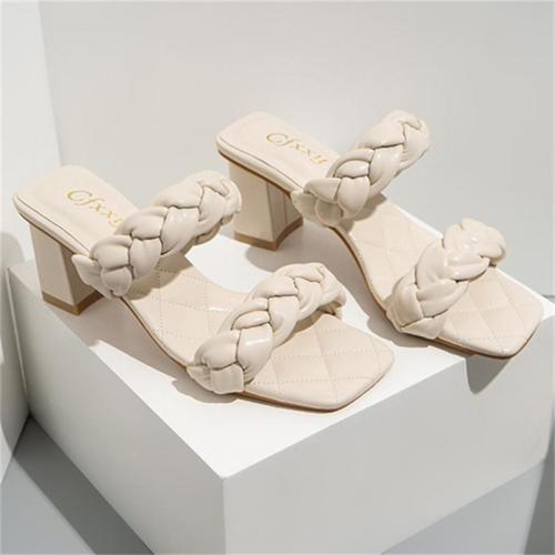 Fashion Square Toe Chunky Heel Solid Color Sandals