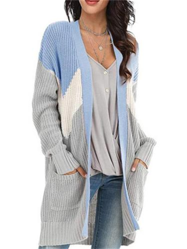 Women's Loose Knit Color-Block Cardigan Sweater