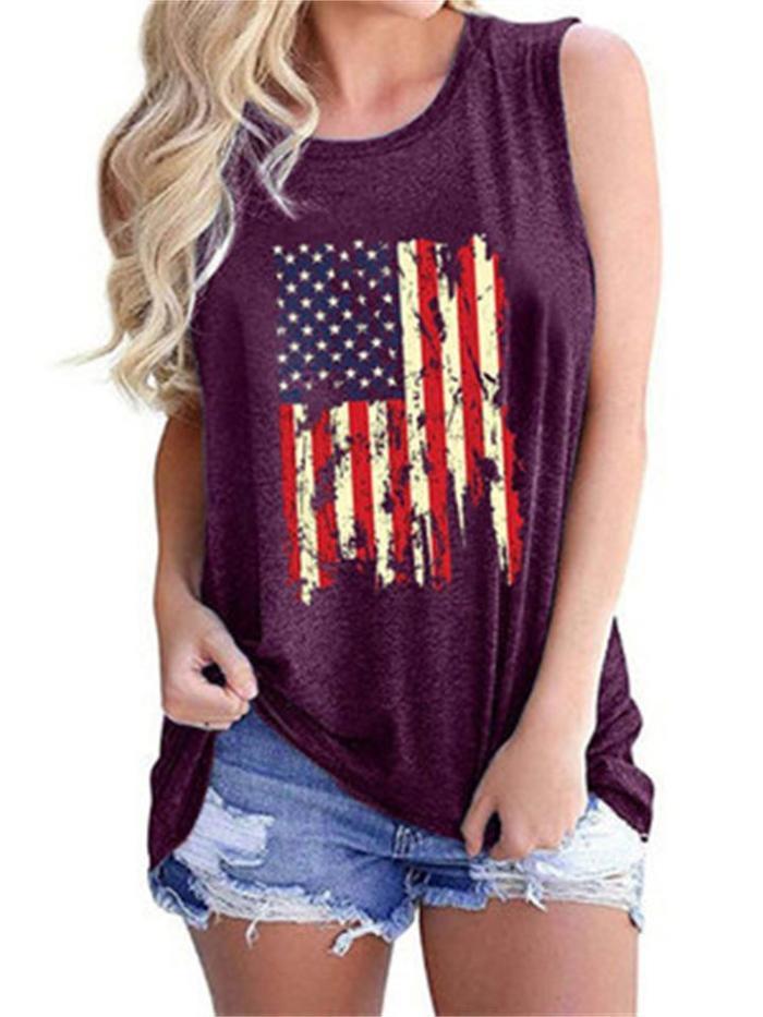 Fashion Loose Flag Print Design Round Neck Sleeveless T-Shirt
