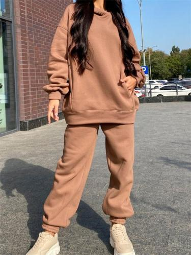 Fashionable Casual Two-Piece Set Solid Color Long-Sleeved Hooded Sweater + Comfy Pants