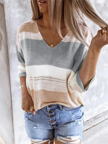 Women's Summer Beach Knitted Striped Color-Blocking Hollow Sweater