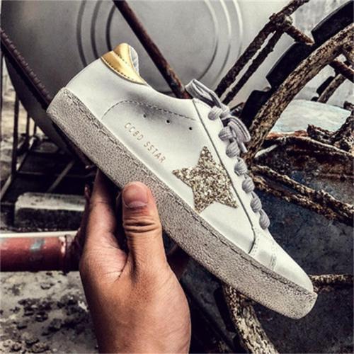 Women's Plus Size Distressed Design Star Print Sneakers