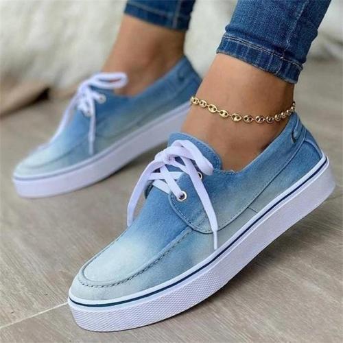 Women's Casual Plus Size Canvas Lace-Up Flat Shoes