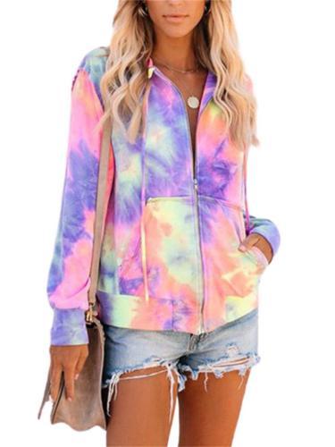 Women's Stylish Tie-Dye Zipper Long-Sleeved Casual Hooded Sweatshirt