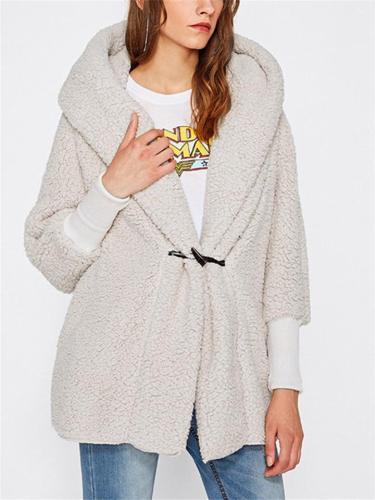Women's Fashion Fleece Hooded Cardigan Jacket With Pockets