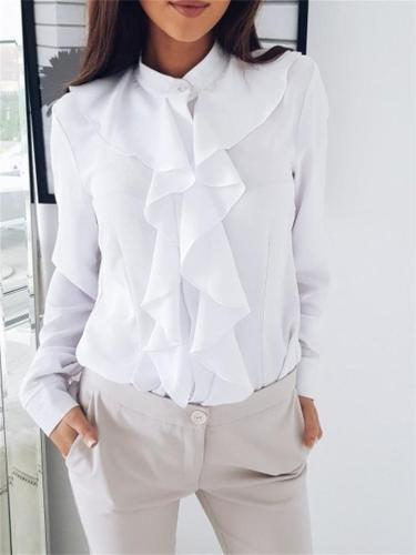 Women's Decent Ruffled Solid Color Long-Sleeved Blouse