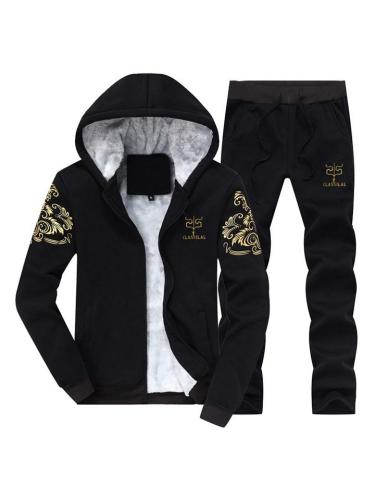 Mens Warm Lining Print Fashion Casual Hooded Outwears+Pants