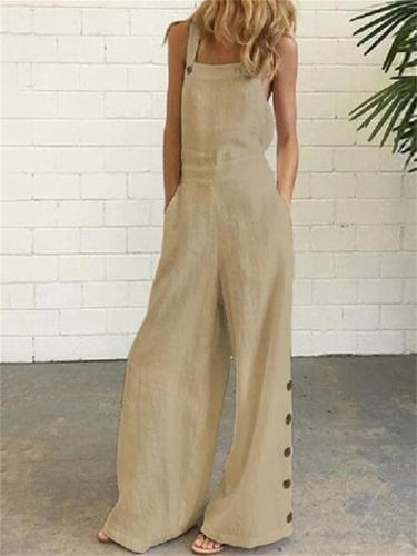Retro Solid Color Sleeveless Side Pocket Casual Wide-Leg Side Buckle Jumpsuit