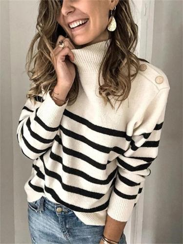 Women's Fashion Knitted Turtleneck Pullover Striped Sweater