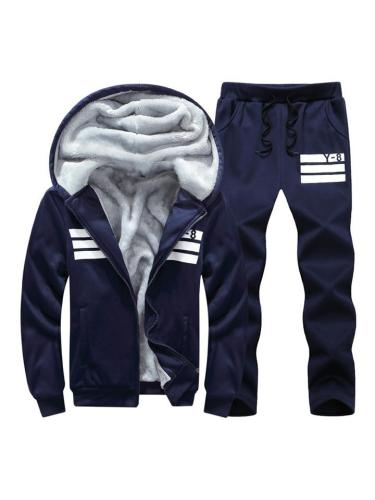 Mens Fashion Warm Lining Print Casual Hooded Outwears+Pants