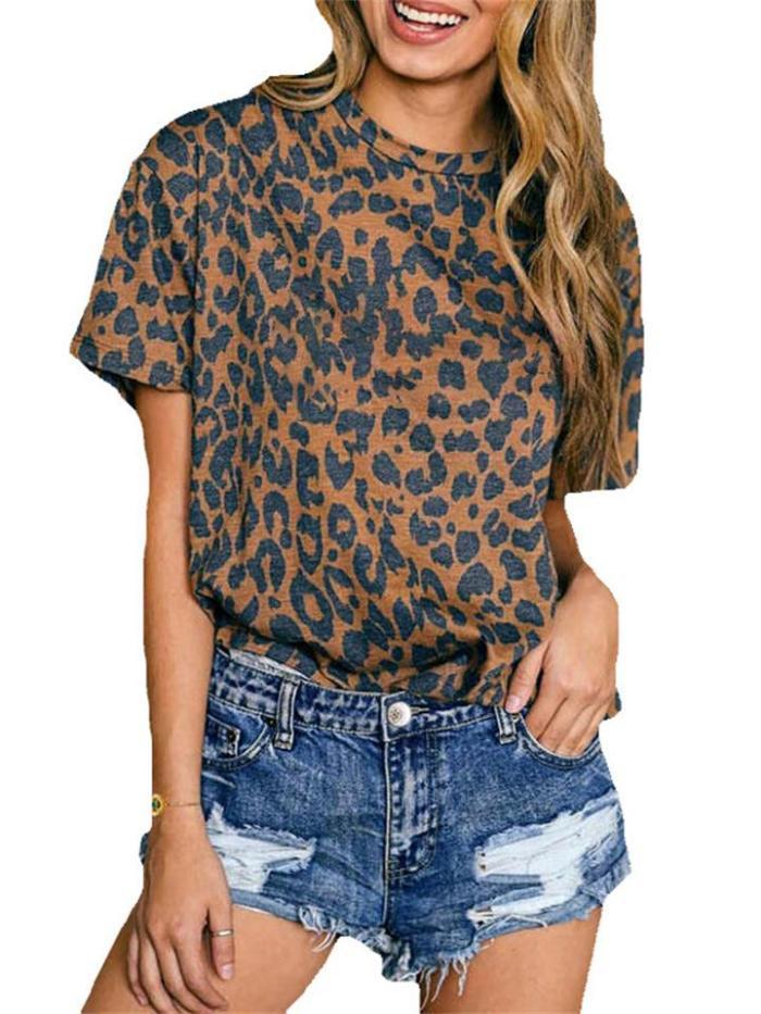 Casual Leopard Print Round Neck Short Sleeve T-Shirt