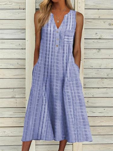 Summer Retro Pocket V-Neck Sleeveless Striped Dress