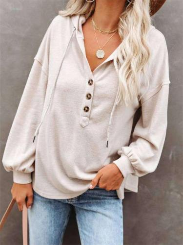 Super Comfortable Solid Color LongSleeve Loose Hooded Sweater