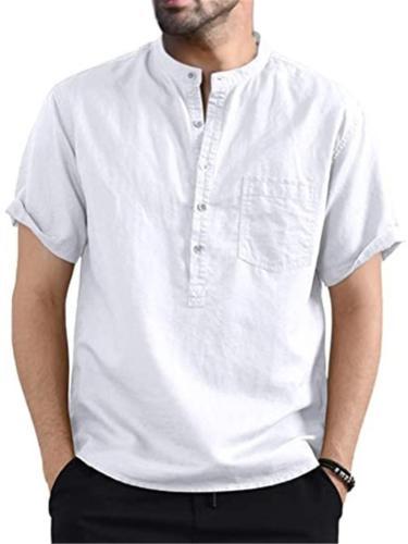 Mens Comfy Solid Color Short Sleeve Henley Shirts