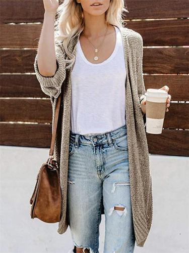 Soft Knitted Solid Color Cardigan Sweater With Split Hem