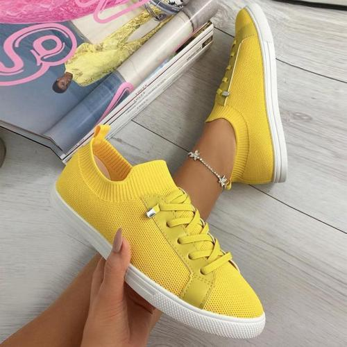 Women's Round Toe Lace-Up Knit Breathable Shoes