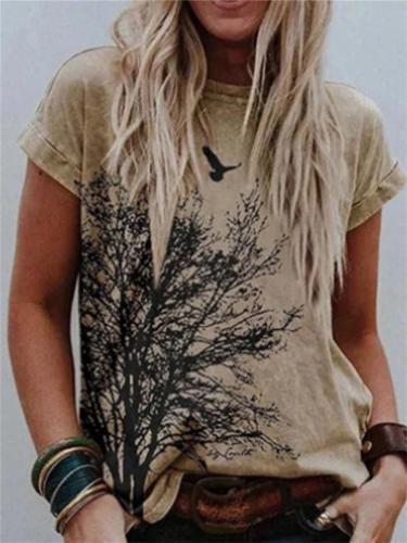 Summer Loose Print Short-Sleeved Round Neck T-Shirt