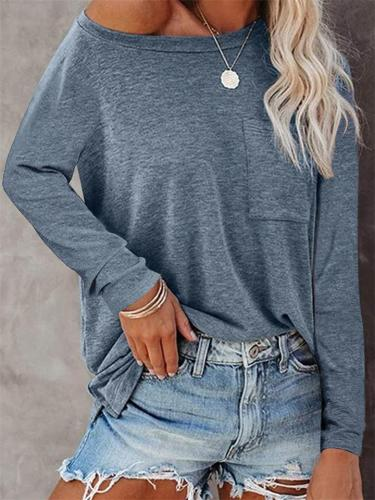 Round Neck Pocket Long Sleeve Casual Loose T-Shirt