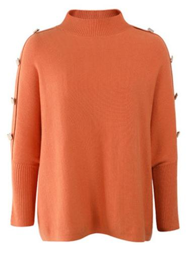 Simple Style Knitted Bat Sleeve Shoulder Button Turtleneck Sweater