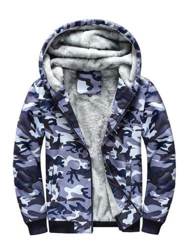 Mens Warm Breathable Soft Camo Print Hooded Military Coats
