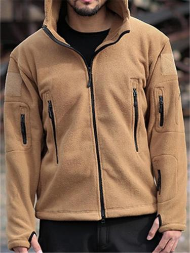 Mens Casual Solid Color Spring Autumn Hooded Coats With  Size Zippers