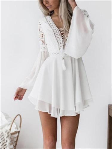 Summer Lace Hollow Design V-Neck Long-Sleeved Chiffon Night Club Dress